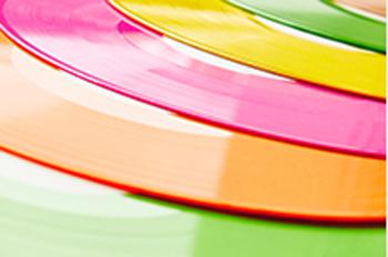 disques vinyles colorés